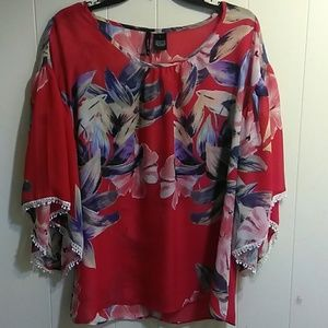 New Directions Large Red Floral Blouse